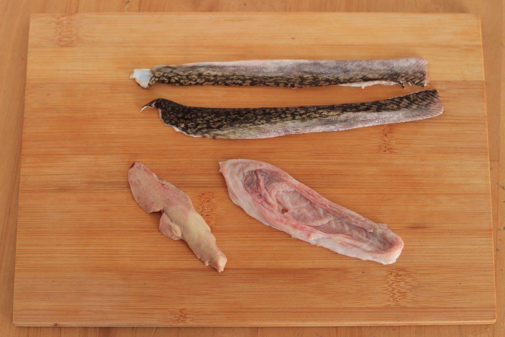 ミシマオコゼの皮と肝と胃袋